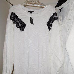 LANE BRYANT WHITE SWEATER 26W 28W V-NECK BLACK LAC